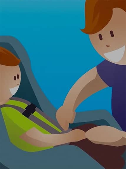 image is an color drawing of a parent installing a car seat with child