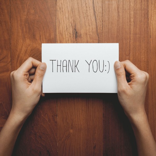image of a thank you card