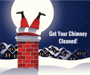 image of santa trying to get down the chimney
