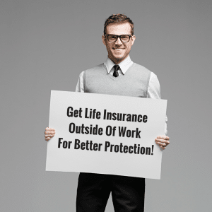 image of man holding sign about life insurance