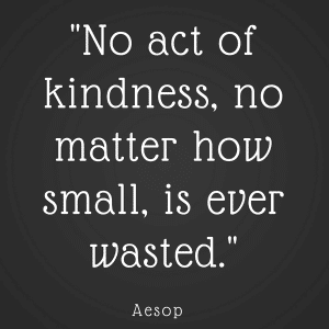 image of sign with phrase no acts of kindness